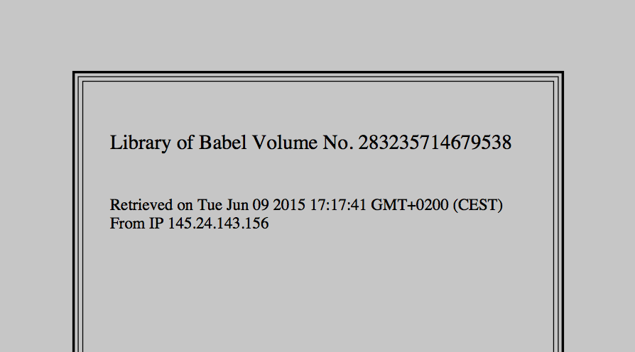 Library of Babel Volume Generator